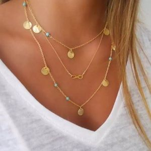Jewelry - Boho Multilayer Infinity Turquoise Coin Necklace